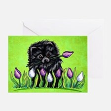 Black Pom Tulips Green Greeting Card
