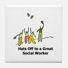 Funny Social work month Tile Coaster
