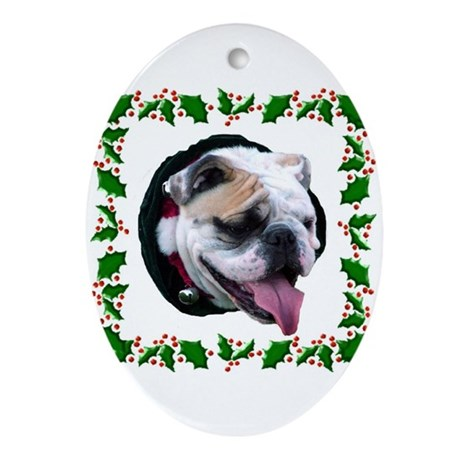 Holly Day Wishes Oval Ornament
