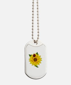 Mosaic Sunflower with Lady Bug Dog Tags