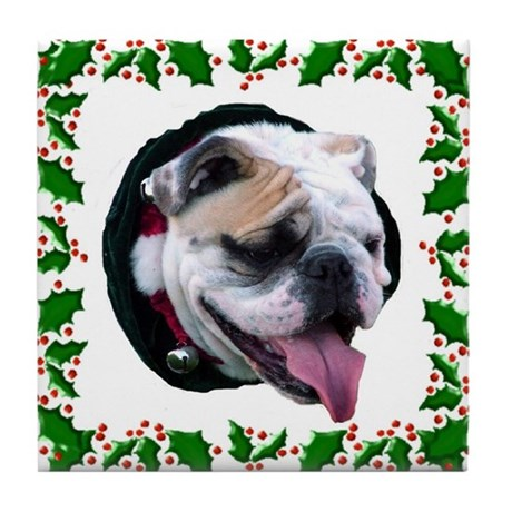 Holly Day Wishes Tile Coaster