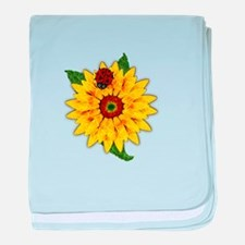 Mosaic Sunflower with Lady Bug baby blanket