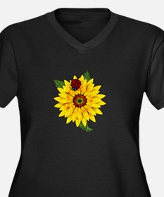 Mosaic Sunflower with Lady Bug Plus Size T-Shirt