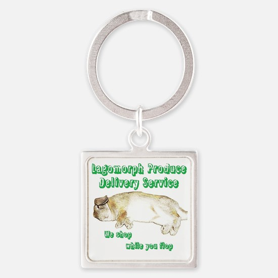 Lagomorph Produce Delivery Service Square Keychain