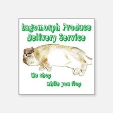 "Lagomorph Produce Delivery  Square Sticker 3"" x 3"""