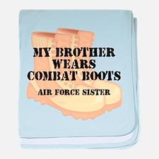 AF Sister Bro wears DCB baby blanket