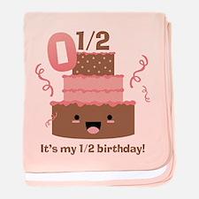 Kawaii Cake 1/2 Birthday baby blanket