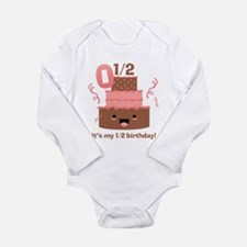 Kawaii Cake 1/2 Birthday Long Sleeve Infant Bodysu
