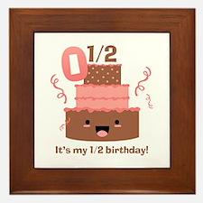 Kawaii Cake 1/2 Birthday Framed Tile