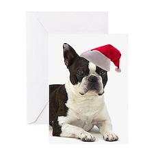 Santa Boston Terrier Card