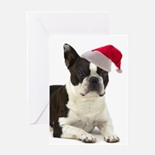 Santa Boston Terrier Card
