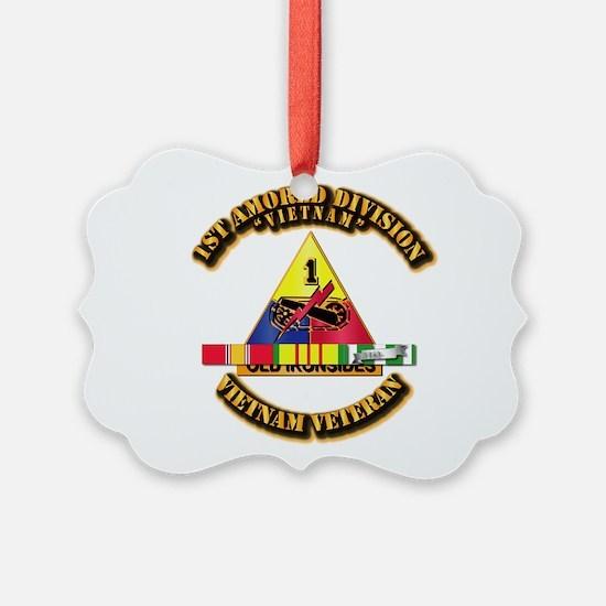 1st Armor Div w SVC Ribbons Ornament