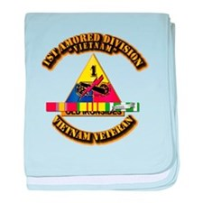 1st Armor Div w SVC Ribbons baby blanket