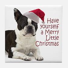 Santa Boston Terrier Tile Coaster