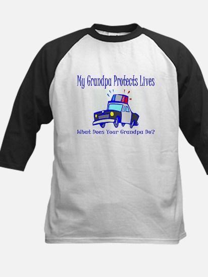 Police Protects Lives-Grandpa Kids Baseball Jersey