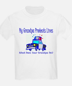 Police Protects Lives-Grandpa Kids T-Shirt