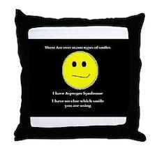 aspie smile Throw Pillow