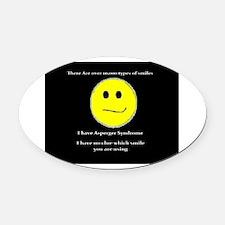 aspie smile Oval Car Magnet