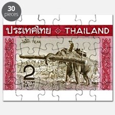 1968 Thailand Working Elephant Postage Stamp Puzzl