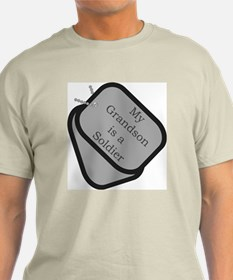 My Grandson is a Soldier dog tag Ash Grey T-Shirt