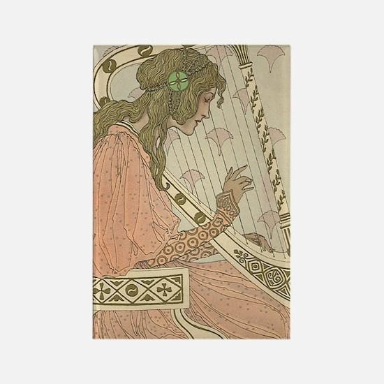 Art Nouveau Harpist Rectangle Magnet