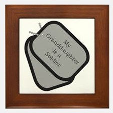 My Granddaughter is a Soldier dog tag Framed Tile