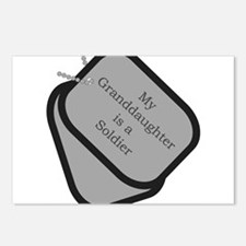 My Granddaughter is a Soldier dog tag Postcards (