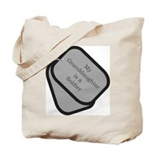 My Granddaughter is a Soldier dog tag  Tote Bag