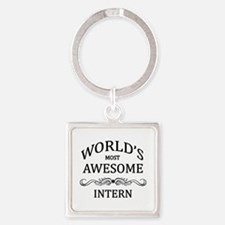 World's Most Awesome Intern Square Keychain