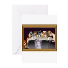 Dogs Playing Flipcup Greeting Cards (Pk of 10)