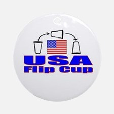 USA Flip Cup Ornament (Round)