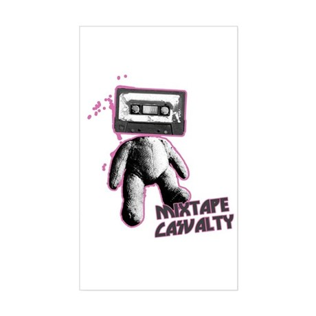 Mixtape Casualty Indie Rectangle Decal by timewarp_tshirt
