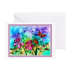 10 - Pink Iris Cards White Boarder - 3 Sizes