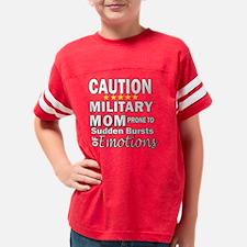 Caution Military Mom Youth Football Shirt