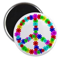 1960's Era Hippie Flower Peace Sign Magnet