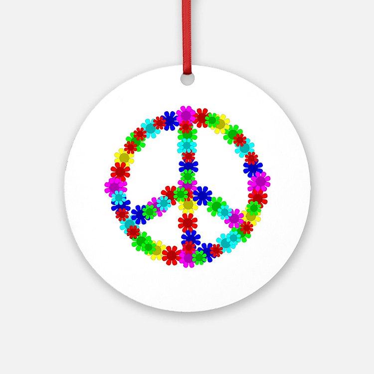 1960's Era Hippie Flower Peace Sign Round Ornament