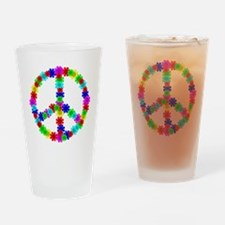 1960's Era Hippie Flower Peace Sign Drinking Glass