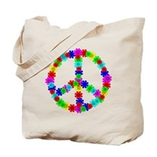 1960's Era Hippie Flower Peace Sign Tote Bag