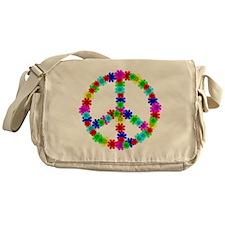 1960's Era Hippie Flower Peace Sign Messenger Bag