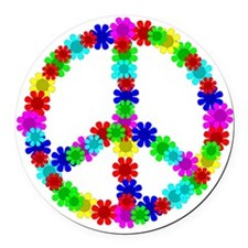 1960's Era Hippie Flower Peace Si Round Car Magnet
