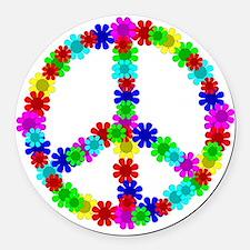 1960's Era Hippie Flower Peace Si Round Car Magnet