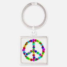 1960's Era Hippie Flower Peace Sig Square Keychain