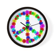 1960's Era Hippie Flower Peace Sign Wall Clock
