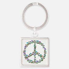 Shrooms of Peace Sign Square Keychain