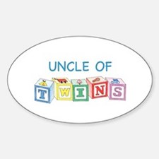 Uncle of Twins Blocks Oval Decal
