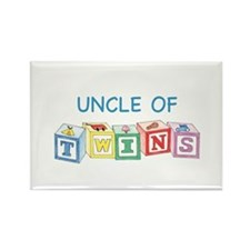 Uncle of Twins Blocks Rectangle Magnet