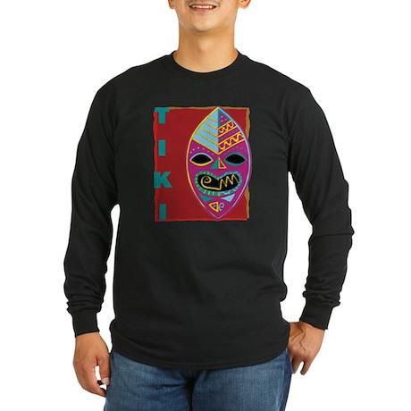 Tiki Mask Long Sleeve Dark T-Shirt