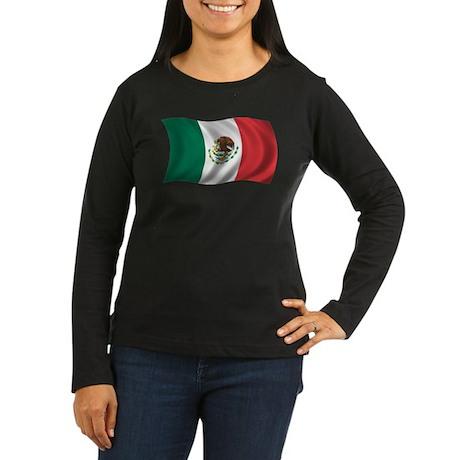 Wavy Mexico Flag Women's Long Sleeve Dark T-Shirt
