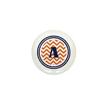 Orange & Navy Mini Button