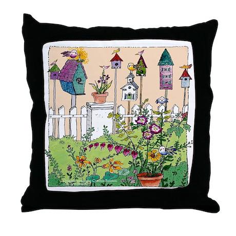 Cynthia Bainton Bird House Garden Throw Pillow